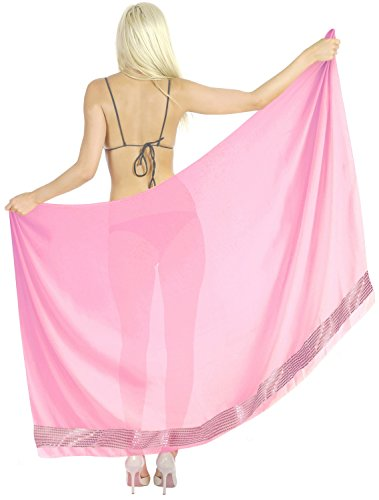 Graduation Blanket Embroidered - La Leela Sheer Sequin Embroidered Beach Swim Hawaiian Pareo Sarong Light Pink,One Size