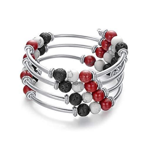 Hiyong Wrap Beaded Bracelets for Women - Boho Wire Wrap Black Bead Lava Rock Howlite Bangle Bracelets for Girls