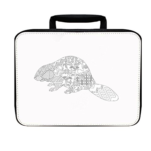 Beaver Black and White Drawing Animals Insulated Lunch Box Bag (Bag Beaver Lunch)