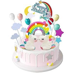 iZoeL Licorne Gateau Décorations de gâteau d'anniversaire Arc-en-ciel Happy Birthday bannière Ballons Nuages pour…