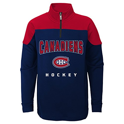NHL Montreal Canadiens Youth Boys Prospect 1/4 Zip, Large(14-16), True Navy (Nhl Hockey Montreal)