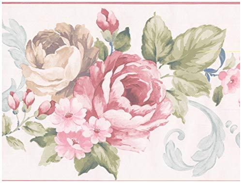 Prepasted Wallpaper Border - Vintage Rouge Pink Beige Roses White Wall Border Retro Design, Roll 15 ft. x 8 ()
