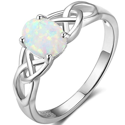 - Jude Jewelers Platinum Plated Celtic Knot Oval Shaped Created Fire Opal Wedding Engagement Anniversary Ring (6)