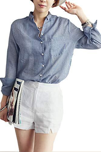 Femmes Longues Baggy Chanvre Bleu Blouse Automne Tops Casual Manches Printemps Solide r6xnrqTwU