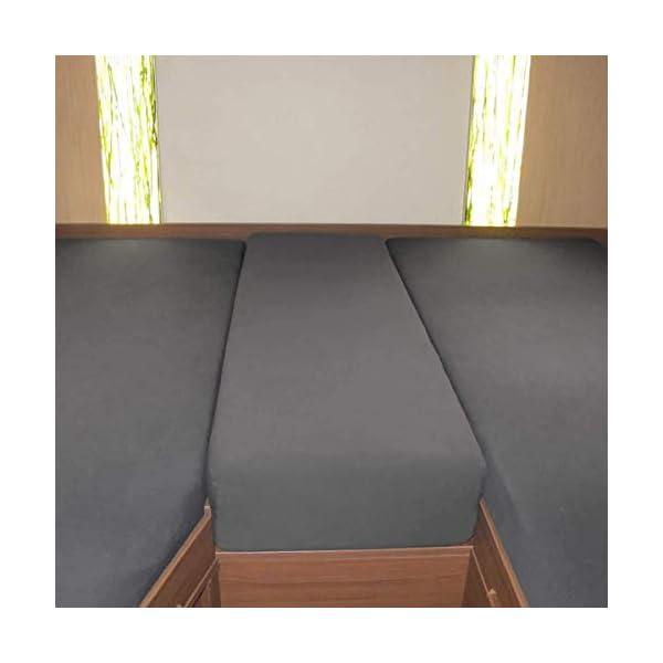 41M29orSpyL Fiducia Spannbettlaken 3er-Set für Wohnmobil oder Wohnwagen - Heckbett - Single-Jersey - Platin - Größe 70x190 cm…