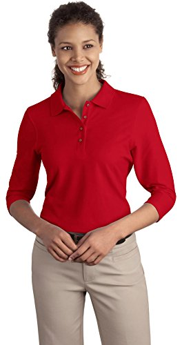 Port Authority Ladies Silk Touch 3/4-Sleeve Polo, Red, XXXX-Large