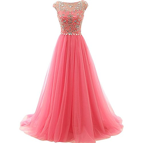 QueenDress Women's Coral Tulle Long Prom Dresses with Scoop Neck Beaded A Line Evening Gowns US18