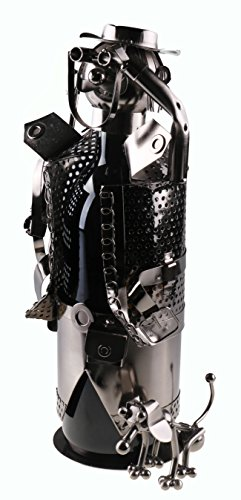 Clever Creations Premium Hunter Metal Wine Bottle Holder Decorative Stainless Steel Design Fits Any Standard Wine Bottle | Wine Accessory Perfect for Kitchen Decorations (Wine Metal Holders Bottle)