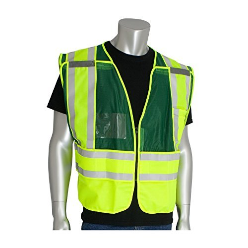This Product is ANSI 207 Public Safety Vests - Green No LOGO Clear Pockets^Provides greater safety^The product is manufactured in China by PIP ()