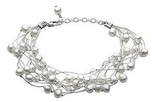 Dew 70GEFP - Pulsera de mujer de plata de ley con perlas y piedras mulicolor, 21 cm