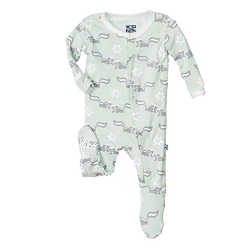 Kickee Pants Baby Girls' Footie in Aloe Skunk, 0-3M