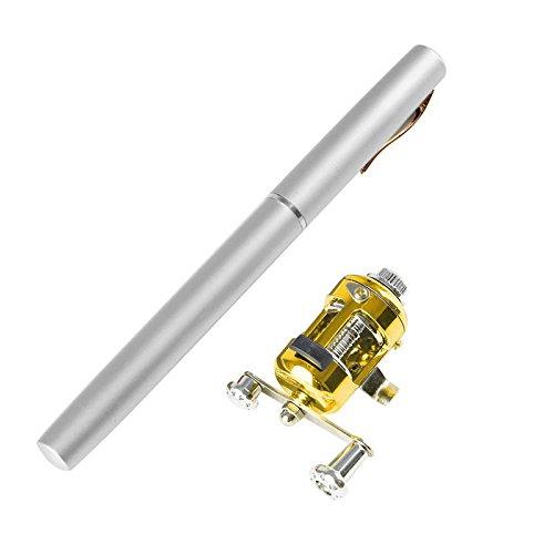 Telescopic Fishing Rod - Portable Mini Fish Rod Telescopic Pocket Fish Pen, Aluminum Alloy Fishing Pole + Reel Combo Sea Saltwater Freshwater Kit Fishing Rod Kit (Silver)