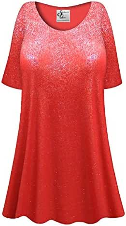 Red w/Silver Speckles Plus Size Supersize Poly/Cotton Extra Long T-Shirt