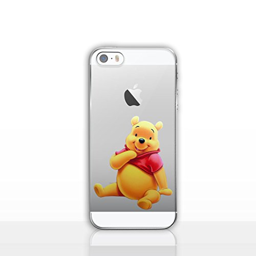 (iPhone 5/5s Winnie the Pooh Silicone Phone Case / Gel Cover for Apple iPhone 5s 5 SE / Screen Protector & Cloth / iCHOOSE / Sit)