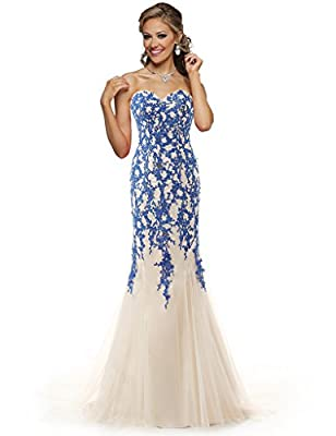 ELLAGOWNS Strapless Tulle Mermaid Lace Dresses Long Prom Dress with Crystals