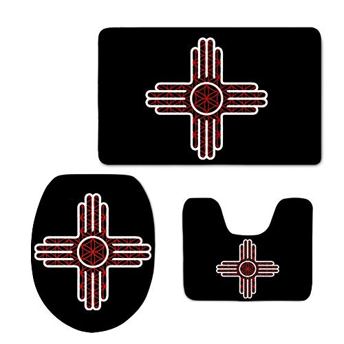 CCBUTBA New Mexico State Flag Zia 3 Piece Bathroom Rug Set Bath Rug 3-Piece Traditional Nylon Washable Bathroom Rug Set Toilet Seat Cover Combo New Mexico State Flag Zia