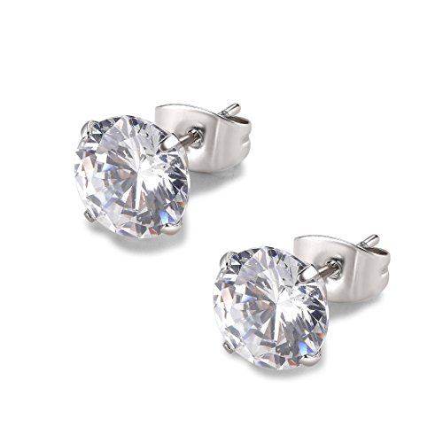 Round Clear Cubic Zirconia Stainless Steel Stud Earring Pierced 3mm-8mm Hypoallergenic Mens Womens (7mm - Free Nickle