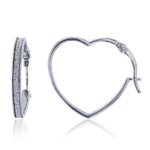 Sterling Silver Rhodium 23x3mm Glitter Heart Shape Hoop Earring (Shape Sterling Heart)