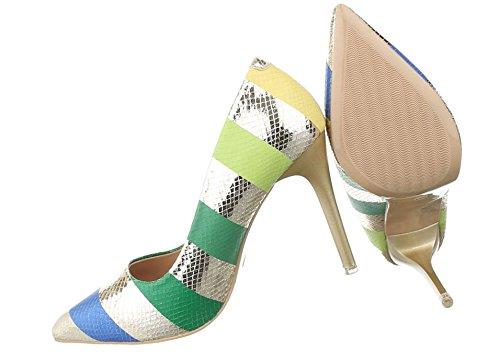 Damen Pumps Schuhe High Heels Stöckelschuhe Stiletto Beige Multi 36 zGwwYxy 2f12e4a868