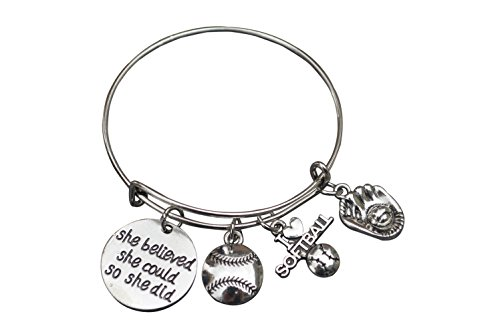 Softball Bracelet- She Believed She Could So She Did Girls Softball Jewelry -Gift for Softball Player, Team and Coaches Gifts (Girls Softball Earrings)