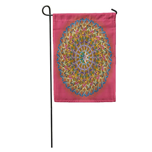 Semtomn Garden Flag Yellow Abstract New Colorful Sewing Mandala Work Accent Balinese Colour Home Yard House Decor Barnner Outdoor Stand 28x40 Inches Flag