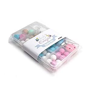 RUBY- DIY Kit Cuentas de silicona para hacer 4 Chupeteros Regalos para bebes Personalizado,