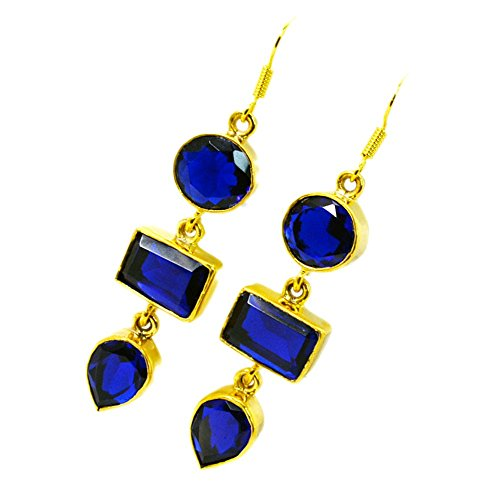 - Jewelryonclick Sapphire CZ Gold Plated Dangle Earrings For Women Blue Stone Indian Handmade Jewelry Gift