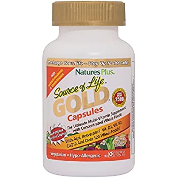 Natures Plus Source of Life Gold - 90 Vegetarian Capsules - All Natural Whole Food Multivitamin, Complete Daily Vitamin Profile, Energy Booster - Gluten ...
