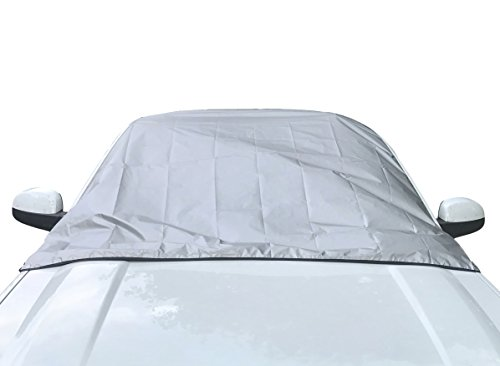 "Reversible Windshield Cover - Reflective Silver Sun Shield and Black Protective Windshield Snow Cover - X Large Prepare For All Weather 57""x74"""""