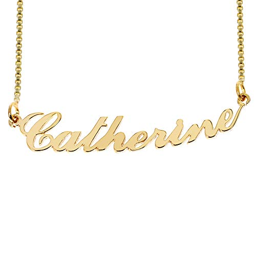 (Iprome Custom Personalized Initial Birthstone Name Necklace Pendant with Box Chain 18K Gold Gifts for Women (Catherine))