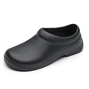 "INiceslipper Unisex Chef Shoes Non-Slip Safety Shoes Oil Water Resistant Casual Flats Beach Shoes For Men and Women (9.5 US/11.1"" Len)"