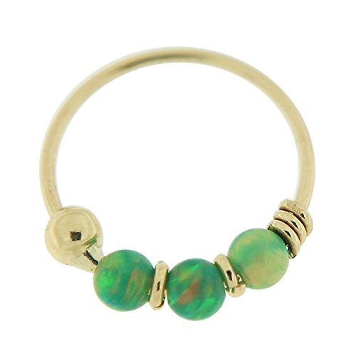 PiercingPoint 9KT Solid Yellow Gold Triple Green Opal Stone 22 Gauge (0.6MM) - 5/16 Inch (8MM) Length Hoop Nose Ring