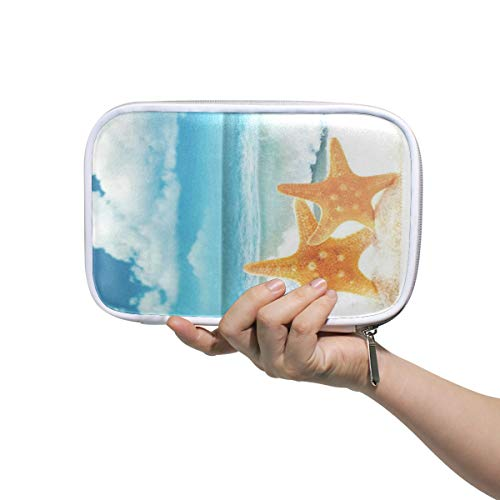 Starfish On Sandy Beach Large Pencil Case Multifunction Leather Makeup Brush Set Bag Holder Zip Pouch