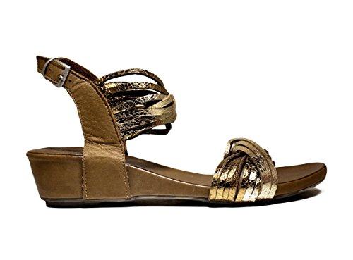BUENO SHOES SINEM ZAPATOS A563 sandalias del talón, talón, nueva colección de verano 2016 de oro de cuero PRIMAVERA
