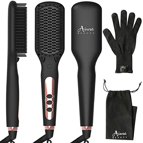 Ionic Hair Straightener Brush Electrical Heated Straightening Comb for Hair, 10 Heat Levels, LCD Tem Display,Professional Hair Care Brushes Set for Travel & Salon (Black) from Aima Beauty