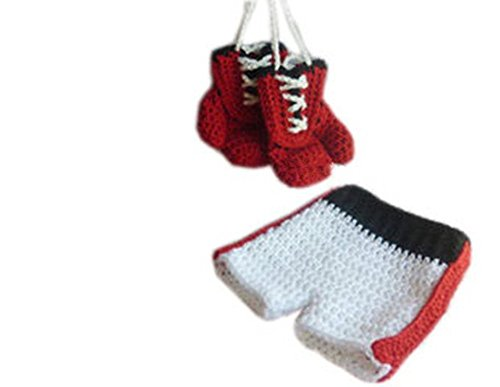 Pinbo Baby Photo Photography Prop Crochet Knitted Costume Boxer Gloves ()