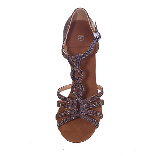L@YC Frauen Tanzen Sandalen Mit 7,5 Cm Kunstleder Zehe Tanzschuhe / Multi-Color Brown
