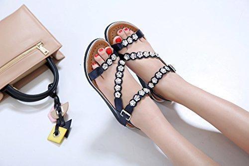 de Ruiren Foncé Plage de pour Sandales des Chaussures de Femmes D'été Dames Coin Strass de Bleu rr8qSg