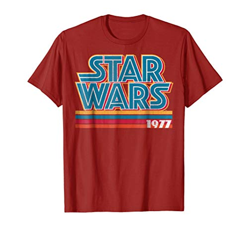- Star Wars Super Retro Striped Logo 1977 Graphic T-Shirt C2