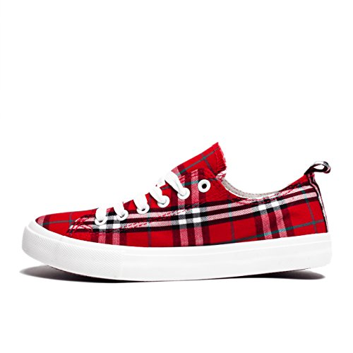 Fashion Vegan Leather Monochromatic Lace Up Colored Sneakers, Low Top Round Toe Shoes, Stylish and Comfortable (8, Red and Black Plaid) by Shelf Angel (Image #2)