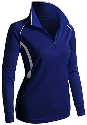 CLOVERY Wicking Material Clothing Functional Fabric Long Sleeve Zipup POLO Shirt COBALT US L/Tag L