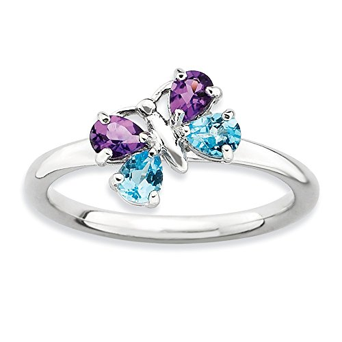 Stackable Expressions Sterling Silver Simulated Blue Topaz and Simulated Amethyst Butterfly Ring - Size 6