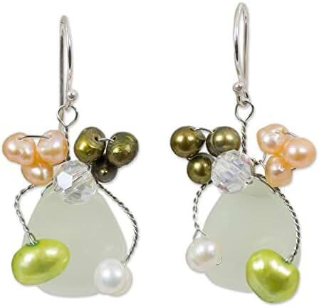 NOVICA Prehnite Dyed Peach Cultured Freshwater Pearls .925 Sterling Silver Beaded Earrings 'Elixir'