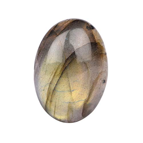 Real Gems Natural Labradorite Loose Gemstone, Oval Cabochon Jewelry Craft Stone, Blue Flashy 30.00 Ct Labradorite Gemstone