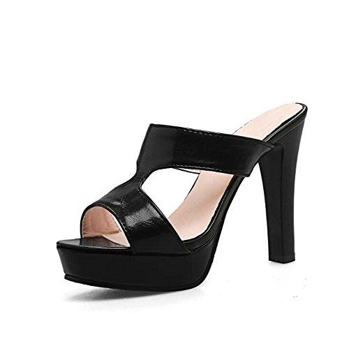 34 Sandalias de Talla Plataforma Las Negro y Color Negro Blanco Peep Toe Zapatillas Mujeres Rosa Tamaño 38 High Wild 39 de Sandalias Heel Shoes 4qUxr4TwE