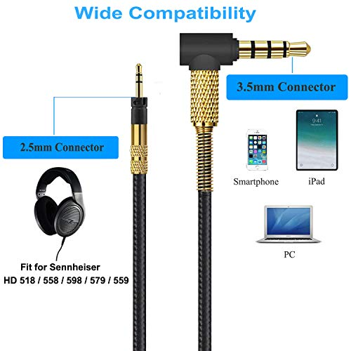 Sennheiser Replacement Headphone Cable Inline Volume Control with Microphone for Sennheiser HD518 HD558 HD598 HD579 HD559 Headset 4.9ft/1.5m