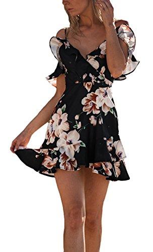 Espalda Dresses Vestidos Fashion con Mujer Vestidos Vintage Playa Negro Impresión Casual V Volantes Señoras Tirantes Cuello Elegantes Fiesta Verano Sin Vestido Flores Vestidos Cortos TPxTa85nq