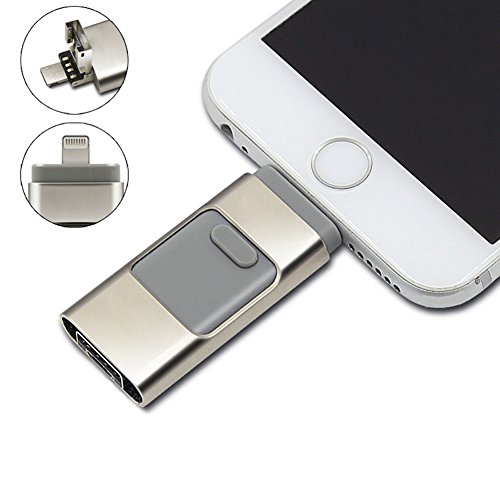 BENKS 3-in-1 OTG USB Flash Drive For Apple iPhone iPad iPod Mobile U Disk Business USB Stick Flash Pen Drive (Grey,32GB)