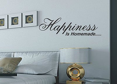 Happiness Is Homemade Wall Art Sticker Quote   Wa24, Color : Brown, Size :