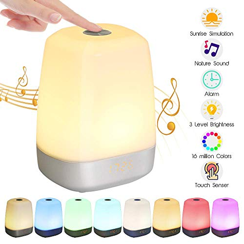 Wake Up Night Light,Touch Control Alarm Clock with Light,Sunrise Simulation and 5 Natural Sounds, USB Rechargeable RGB Wake Up Light with 3 Brightness Levels for Bedroom Reading